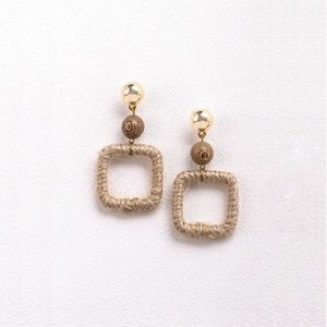 E601 | Square - Wood and Linen Earrings